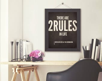 Rules Of Life / Business Quote / Digital typography poster / Printable