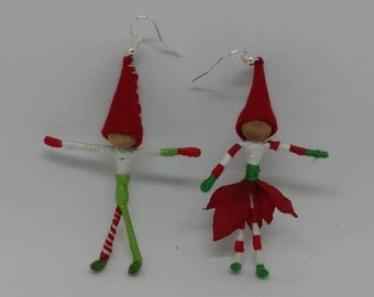 Christmas fairy, Christmas elf earrings - custom - pick your dolls
