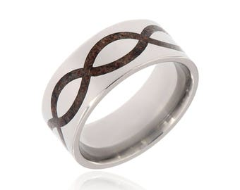New 9MM Wide Dinosaur Bone & Titanium Ring Handcrafted With Dinosaur Bone Fossil - Infinity Comfort Fit Wedding Bands - 9F-Infinity-Dino