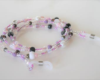 Beaded Eyeglass chain,Pink crystal beaded chain,Eye glass chain,Eyeglass accessory,Gift to Her,Glasses chain,strap,string,Eyeglass holder