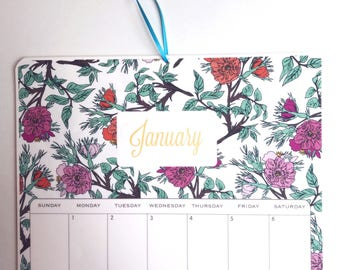 2018 Wall Calendar, sized 11x17 Inches, featuring 12 different full pattern illustrations in mint, blue, yellow, orange, pink aqua and coral