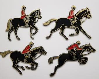 Vintage Showjumper Self-Adhesive Plaques (c) 1966 Invicta Plastics Limited, Made in England. Rare complete set of 4. Horses Equestrian gift.