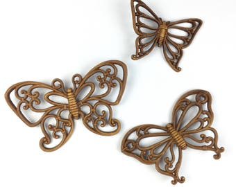 Vintage Mid Century Homco Butterfly Wall Decor // Set of 3
