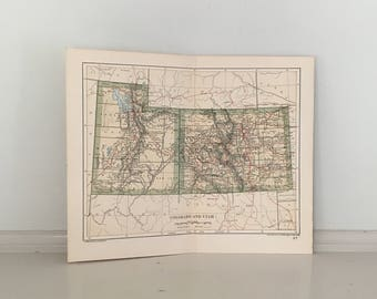 Antique Utah Map Etsy - Utah maps