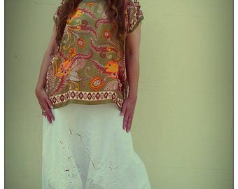 Upcycled Vintage Scarf T-Shirt Jungle Patterned Print Tunic                       ReMade in Brighton UK