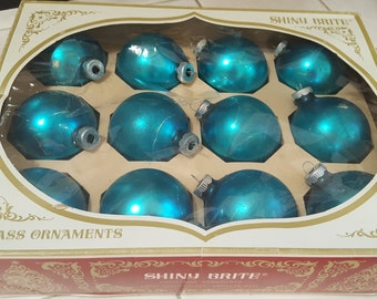 Mid Century Shiny Brite Teal Blue Glass Christmas Bulbs Box of 12