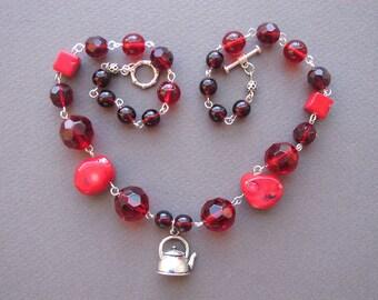 Hibiscus Tea Short Necklace Fancy Fun Karkade Coral Red Teapot Teatime Short Necklace Tea Party Kettle Pendant