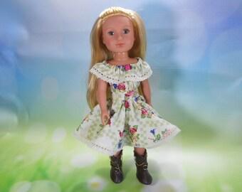 14.5 inch doll clothes, 14.5 inch fancy dress, 14.5 inch doll dress, Fits dolls like Wellie Wishers, Green Flower Fiesta Dress, 03-2840