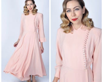 Vintage Late 1930's to Early 1940's Blush Pink Rayon Long Hostess Dress/ 30's 40's Pale Pink Flowing Long Dress Size Small