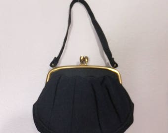 Vintage Navy Blue Cloth Evening Bag Purse with Handle Gold Tone Kiss Lock Clasp with Rhinestones 1950s
