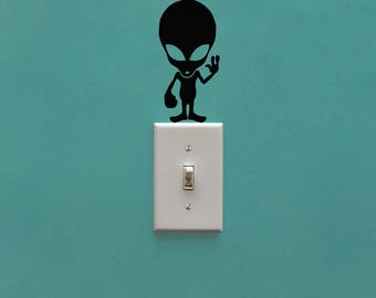 Alien Light Switch Decal - Lightswitch UFO Decal - Light Switch Cover decor