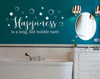 happiness is a long hot bubble bath decal bathroom decor girl wall art
