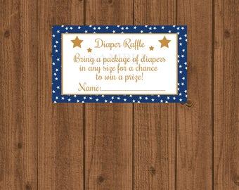Star Diaper Raffle, Twinkle Twinkle Diaper Raffle, Blue and Gold Diaper Raffle, Boy Baby Shower, Diaper Raffle Ticket, Instant Download