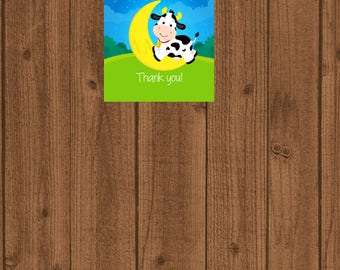Cow Jumped Over the Moon Favor Tag, Cow Jumped Over the Moon Baby Shower, Cow Jumped Over the Moon Birthday