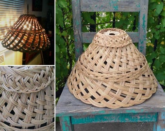 """Vintage Woven Reed Rattan Lamp Shade from the Philippines measuring 16"""" x 9"""" ~ Bohemian Boho Decor ~ Rustic Hippie Decor ~ Beach Decor ~"""
