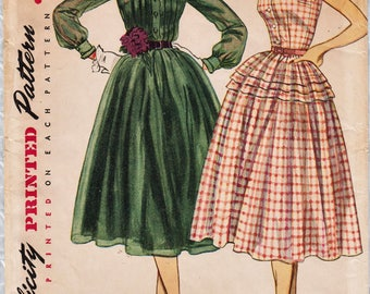 Simplicity 3848 / Vintage 50s Sewing Pattern / Dress / Size 14 Bust 32 / Unused