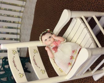 Baby Girl Miniature Porcelain Doll Baby Girl Doll House Scale 1/12
