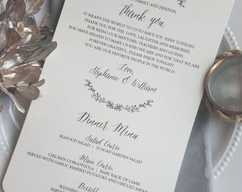 Wedding Menu and Thank You - Style MTY27 - GARDEN COLLECTION  | Menu  | Thank You | wedding menu - PRINTED