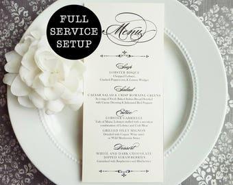 Printable Elegant Wedding Menu | reception menu | dinner menu | table menu | Printable Style M21 - GRACEFUL COLLECTION