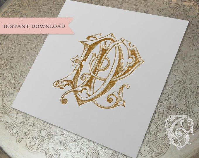 Vintage Wedding Monogram DP PD Digital Download D P