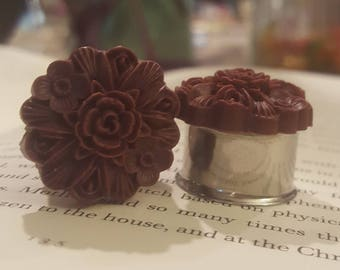 Vintage Plum Purple Rasin Floral Prom Plugs Wedding Boho Gauges 9/16ths or 1/2 t32