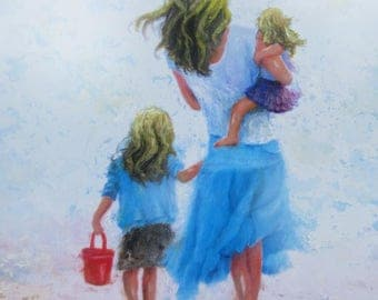 Mother Daughters Beach Blondes Art Print, two sisters, two blonde girls beach mom, blonde mother wall decor, beach art,Vickie Wade Art