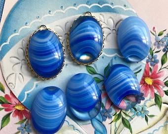Vintage Givre Sapphire Cabochons, Vintage Oval Glass, Swirl cabochons, 18x25, Preciosa, Tumb. cabochons, Art Deco, #B117AS