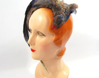 Late 1950s Novelty Feathered Hat - Bird Hat // blue purple Grey - 50s Feather Hat wrap Around Headband Dramatic