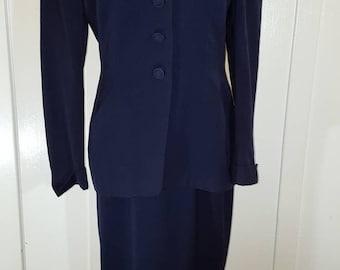 Vintage Navy Blue Gaberdine Skirt Suit