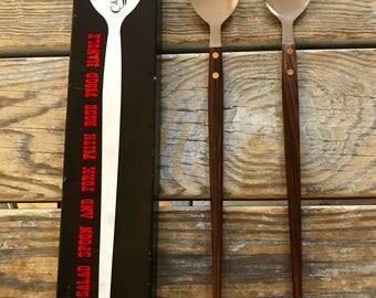 60s Salad Servers Rosewood Handles Elongated Spoon & Fork Original Box Wonderful Midcentury Modern Design