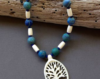Carved White Tree Necklace Beautiful Bone Pendant from Bali w Matte Blue Green Azurite Lapis Rondelles and Vintage Bone Gemstone Jewelry
