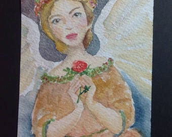 Rose Angel ACEO Original WatercolorPainting