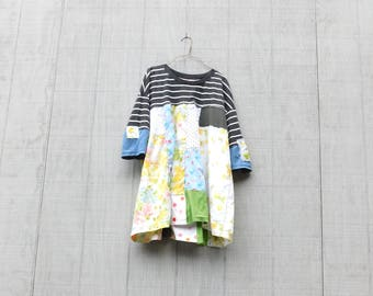 Upcycled Clothing, Recycled, Reclaimed, Tshirt Dress, Jersey, Tunic, Wearable Art, Black Dress, Shirt, Floral, Stripes, Urban Chic, Fun