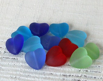 10 Sea Glass Style Heart Beads - Jewelry Making Supply - Recycled Frosted Glass Beads - 11x12mm - 10 hearts - Choose Color