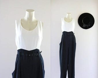 ON SALE ivory + black color block jumpsuit / m