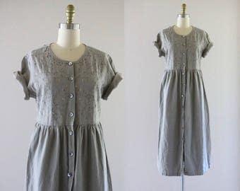 embroidered linen blend market dress / m