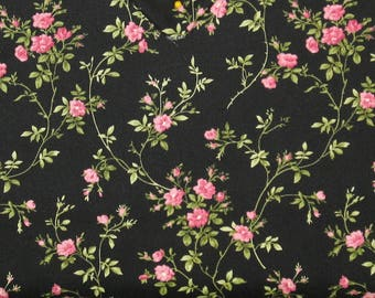 Pink Flower Sprays with Leaves on Black Cotton Quilt Fabric Blender, Shabby Chic, Poppies Collection, Fat Quarter, Yardage, MAS8784-J
