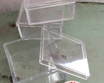 """Small Clear Plastic Boxes, 1-3/4"""" X 1-3/4"""" Square Rigid Plastic Boxes, Set of 3, Small Gift, Miniature, Storage Boxes, Clear Box With Lid"""