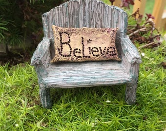 Fairy Bench With Believe Pillow, Distressed Bench, Fairy Garden Accessory, Miniature Home & Garden Decor, Mini Bench, Resin Chair