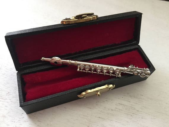 Miniature Silver Flute with Case, Mini Musical Instrument, Decor, Topper, Accessory, Mini 3 Inch Silver Flute