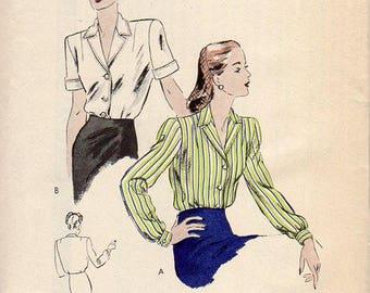 1940s Womens Blouse Pattern - Vintage Vogue 5364 - Bust 46 FF