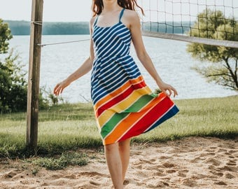 Vintage 1960's Rainbow Striped Sundress Lanz Originals Dress A-Line Fit and Flare Open Back Dress Summer Retro Mid Century Pinup