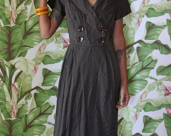 1950's Dress / Slate Gray Wiggle Party Dress / Wedding Bridal Party / Bridesmaid Anniversary Dress / Sexy Fitted Dress