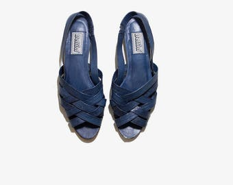 Vintage Leather Sandals 8.5 / Navy Leather Sandals / Woven Leather Sandals / Strappy Sandals / Slingback Sandals