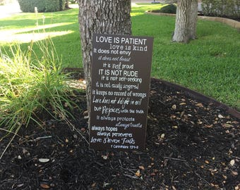 Love is Patient Love is Kind Custom Wood Sign ~Anniversary Sign ~1 Corinthians 13:4-8 ~Love Never Fails ~Wedding Aisle Sign ~Reception Sign