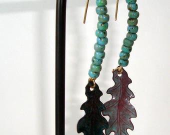 Enamel Leaf Earrings, Turquoise Beads, Long Drop Earrings, Artisan Earrings, Gypsy Earrings, Dangle Earrings, BOHO earrings, Womans gift