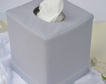 Hemstitch Gray Linen reversible tissue box cover