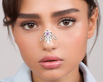 Big Celtic Silver Nose Cuff - alternative nose jewelry , edgy jewelry , celtic nose jewel , silver cuff , gemstone jewelry ,wedding jewelry