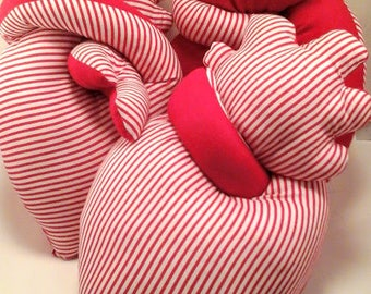 Anatomical stuffed heart red striped heart toy