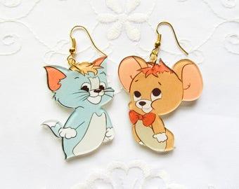 Tom and Jerry Vintage Style Earrings / Kawaii Earrings / Retro / Vintage / Cartoon / Cute / Fun / Resin / Earrings
